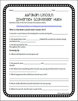 Abraham Lincoln Internet Scavenger Hunt WebQuest Activity