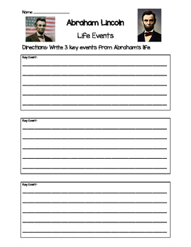 Abraham Lincoln- Key Life Events Worksheet