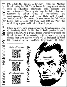 Abraham Lincoln LinkedIn Profile Assignment w/Google Drive Option
