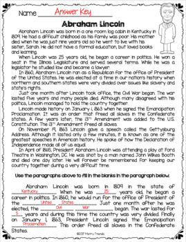 Abraham Lincoln Mini-Biography Worksheet FREEBIE