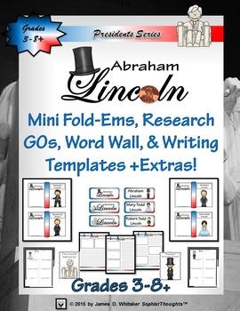 Abraham Lincoln Mini Research Fold-Ems, Word Wall, & Writi