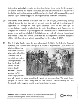 Abraham Lincoln ELA Informational Text Test Prep with Primary Source and More