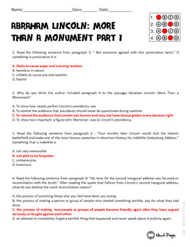 Abraham Lincoln More Than a Monument: His Presidency & Legacy Test Prep