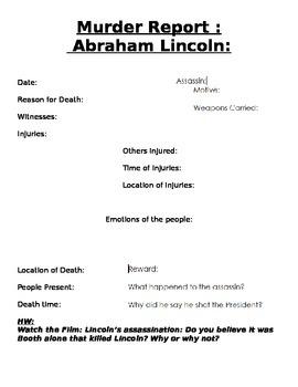 Abraham Lincoln Murder Report Graphic Organizer