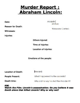 Abraham Lincoln Murder Report Graphic Organizer