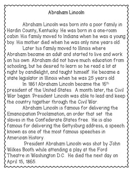 Abraham Lincoln Reading Comprehension