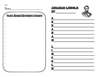 FREE Abraham Lincoln Note Sheet & Acrostic Poem