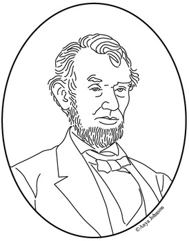 Abraham Lincoln (16th President) Clip Art, Coloring Page o