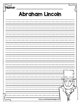 Abraham Lincoln President's Day Writing Paper Freebie!