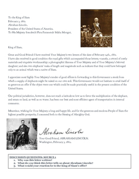 Abraham Lincoln Primary Source Worksheet