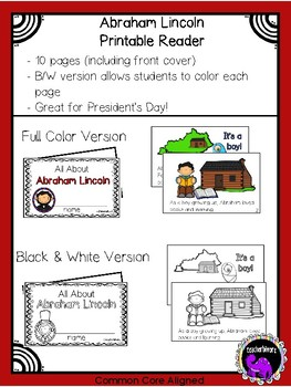 Abraham Lincoln Printable Reader for Kindergarten and First Grade