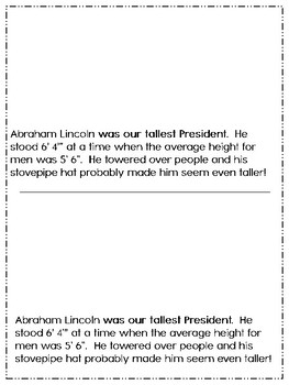 President Abraham Lincoln Book for Third /Fourth / and Fifth Grades