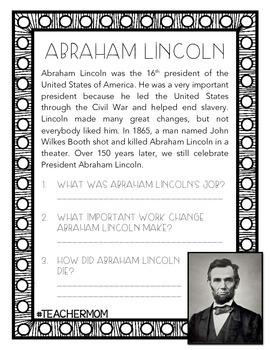 Abraham Lincoln Reading Comprehension Primary Pack {#TeacherMom}
