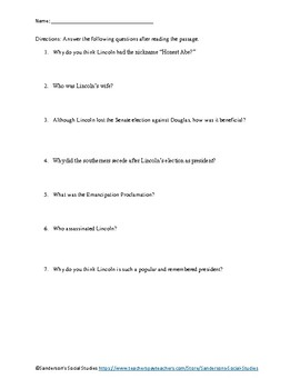 Abraham Lincoln Reading Comprehension Worksheet