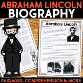 Abraham Lincoln Reading Passage, Biography Report, & Comprehension