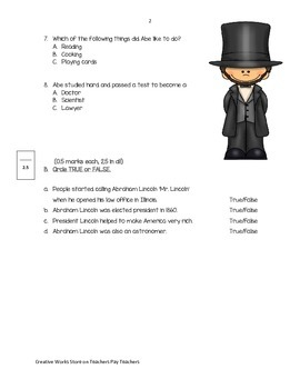 Abraham Lincoln ( Reading Quiz) 2nd Grade Reading Street