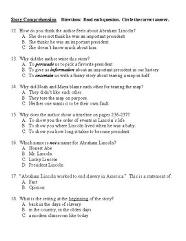 Abraham Lincoln Reading Street Second Grade Selection Test & Guided Reading