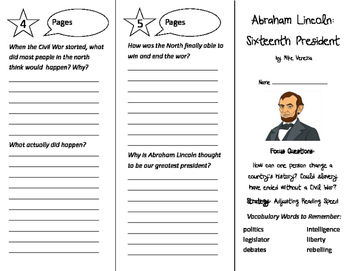 Abraham Lincoln: Sixteenth President Trifold - Imagine It 4th Grade Unit 3 Wk 5
