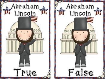 Abraham Lincoln TRUE AND FALSE POCKET CHART ACTIVITY