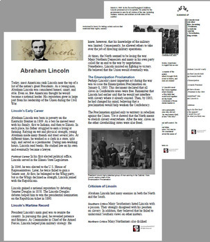 American History - Abraham Lincoln Text Reading with Student Questions