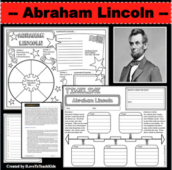 Abraham Lincoln Timeline Poster Acrostic Poem Activity with Reading Passage