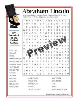Abraham Lincoln Word Search