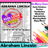 Abraham Lincoln: Word Search: Presidents' Day Activity