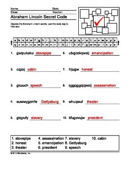 Abraham Lincoln Word Search, Secret Code and Word Scramble Printables