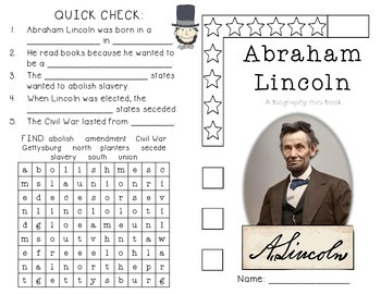 Abraham Lincoln - Abe Lincoln Writing Prompt plus Activities