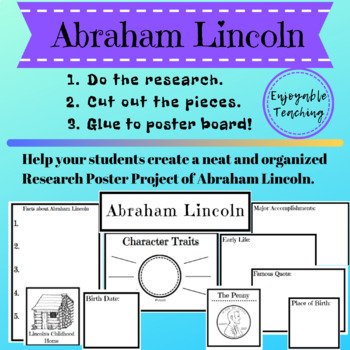 Abraham Lincoln and George Washington Biography Research Poster Kits