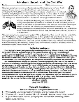 Abraham Lincoln and the Civil War Reading Interpretation Getytsburg Address