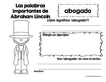Abraham Lincoln in Spanish (Dia de los presidentes) Espanol- Unit