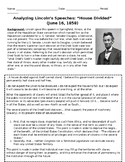 """Abraham Lincoln's """"A House Divided Speech"""" Primary Source"""