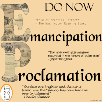 Abraham Lincoln's Emancipation Proclamation: Do-Now