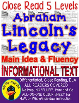Abraham Lincoln's Legacy FACTS Close Read 5 levels ALL-READERS-COVERED