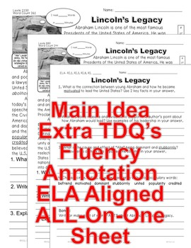 Abraham Lincoln's Legacy CLOSE READING 5 LEVELED PASSAGES Main Idea Fluency