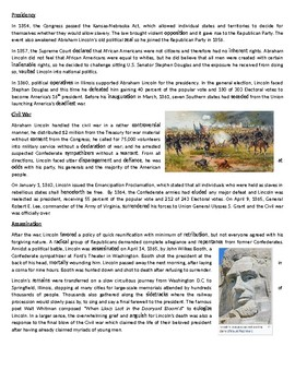 Abraham Lincoln's Life and Work - Reading Comprehension Worksheet