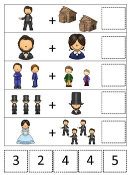 Abraham Lincoln themed Math Addition preschool printable math activity.