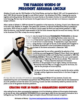 Abraham Lincoln's Emancipation Proclamation & Gettysburg Address 3D Foldable
