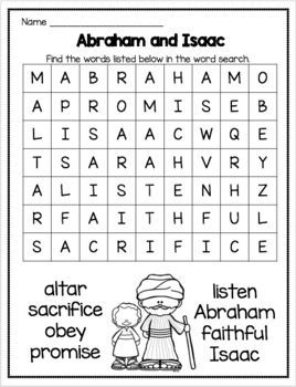 Abraham and Isaac Game Word Search and Coloring Page