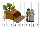 Abraham and Sarah 1-10 Sequence Puzzle printable game. Preschool Bible Study