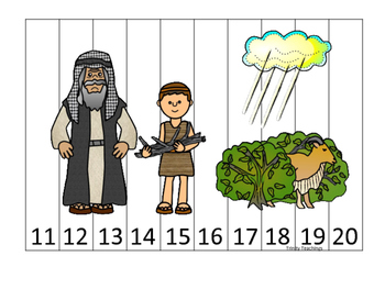 Abraham and Sarah 11-20 Sequence Puzzle printable game. Preschool Bible Study