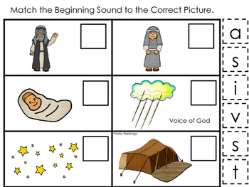Abraham and Sarah Beginning Sound printable game. Preschool Bible Study Curricul