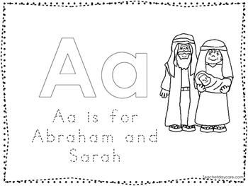 Abraham and Sarah Color and Trace Worksheet. Preschool-Kindergarten