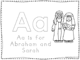 Abraham and Sarah Color and Trace Worksheet. Preschool-Kindergarten