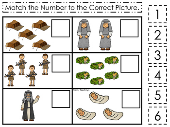 Abraham and Sarah Match the Number printable game. Preschool Bible Study Curricu