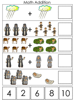 Abraham and Sarah Math Addition printable game. Preschool Bible Study Curriculum