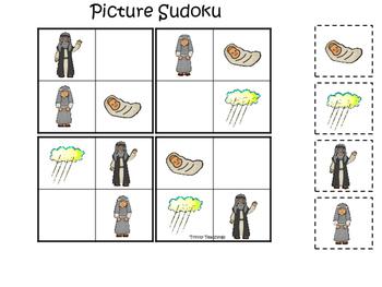 Abraham and Sarah Picture Sudoku printable game. Preschool Bible Study
