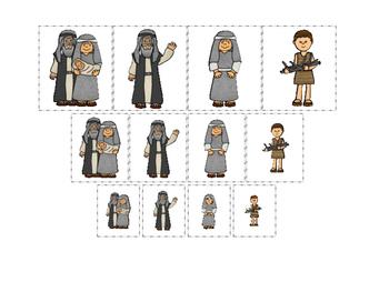 Abraham and Sarah Size Sorting printable game. Preschool B