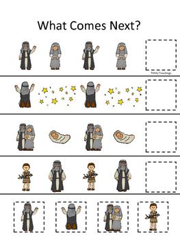 Abraham and Sarah What Comes Next printable game. Preschoo